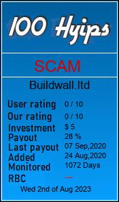 buildwall.ltd monitoring by 100hyips.com
